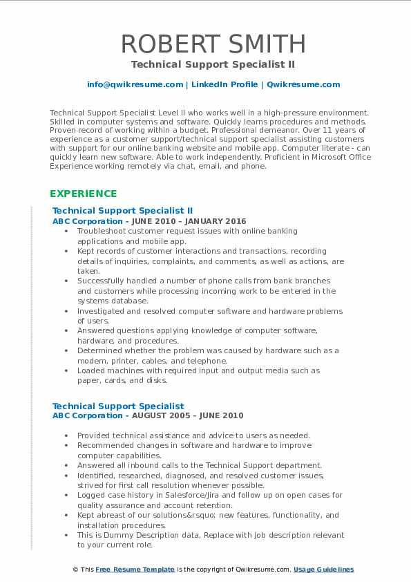 Technical Support Specialist II Resume Example