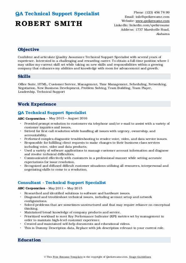 QA Technical Support Specialist Resume Example