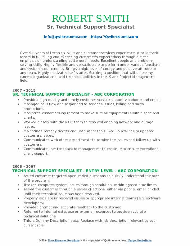 Sr. Technical Support Specialist Resume Format
