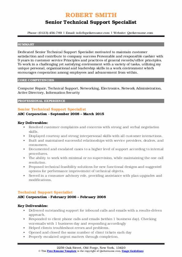 Senior Technical Support Specialist Resume Template