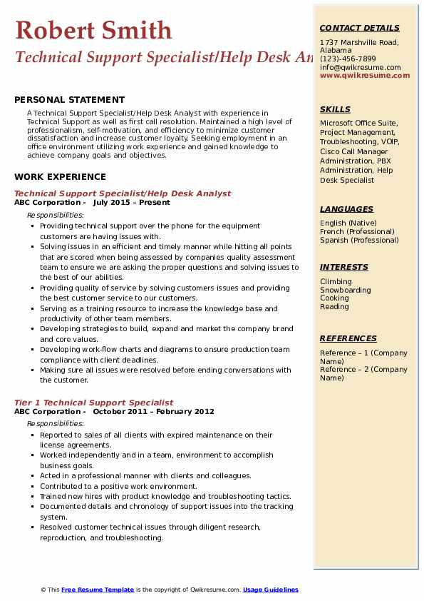 Technical Support Specialist/Help Desk Analyst Resume Example