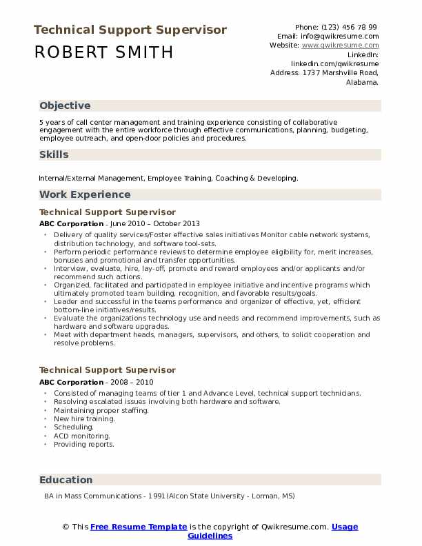 Technical Support Supervisor Resume Format