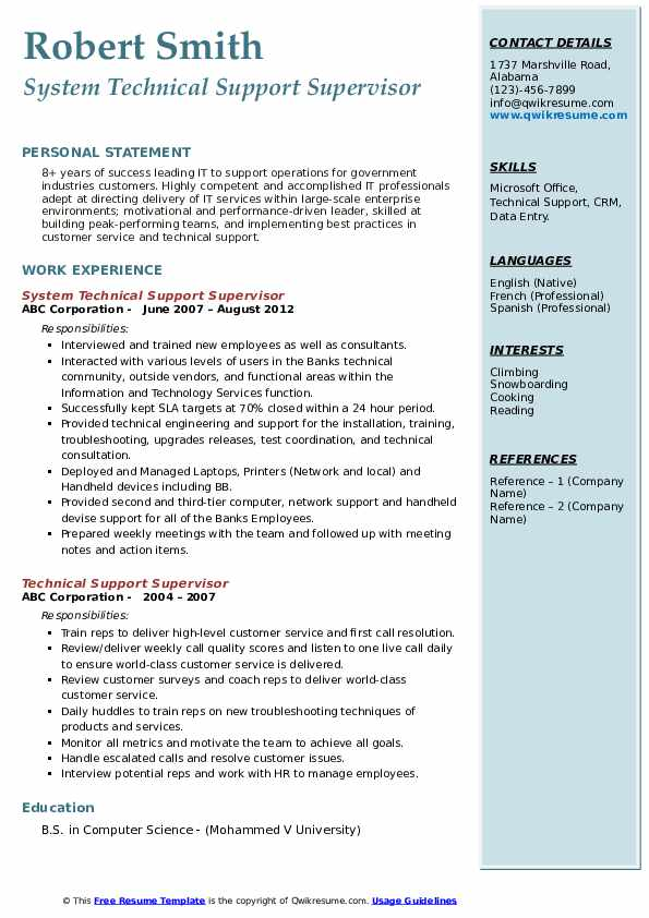 System Technical Support Supervisor Resume Format