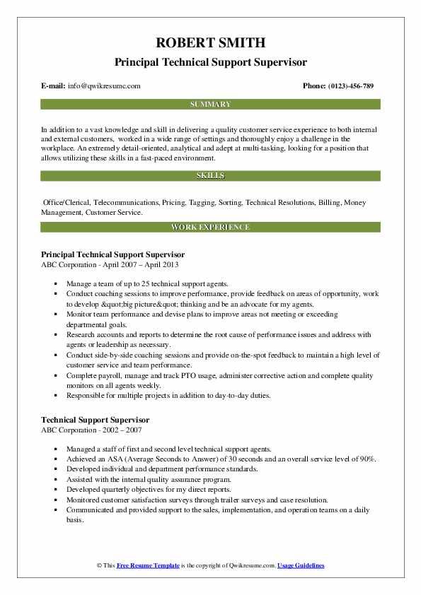 Principal Technical Support Supervisor Resume Template