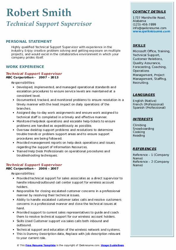 Technical Support Supervisor Resume example