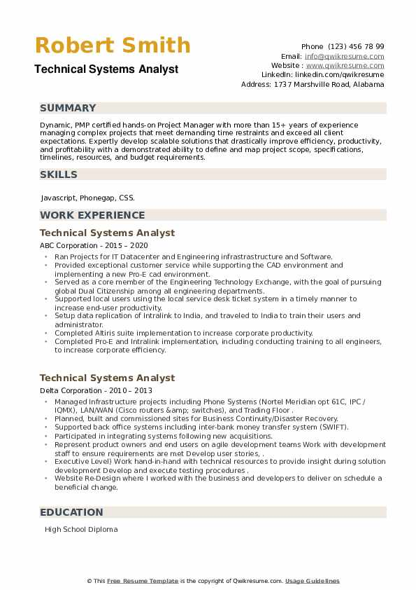 Technical Systems Analyst Resume example
