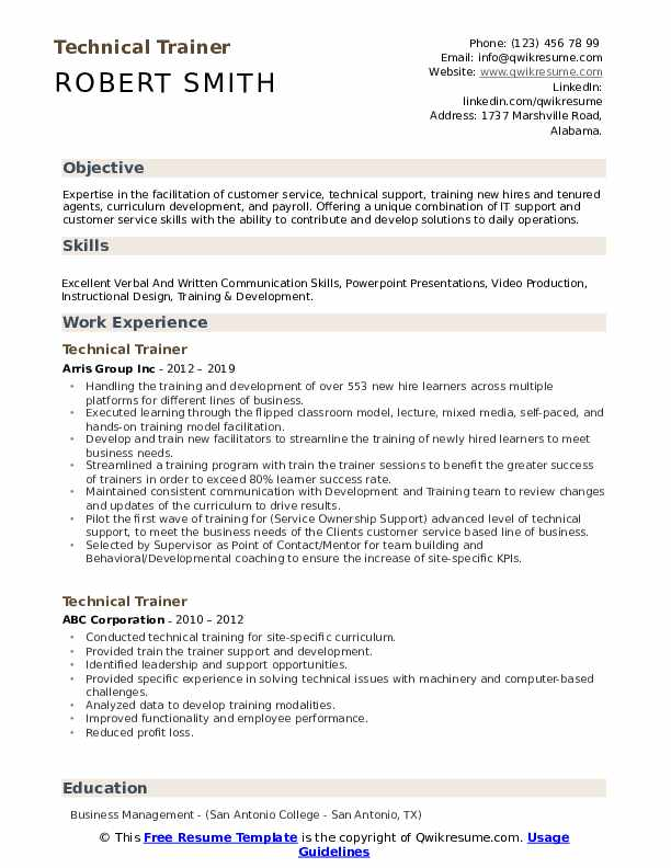 Technical Trainer Resume Format