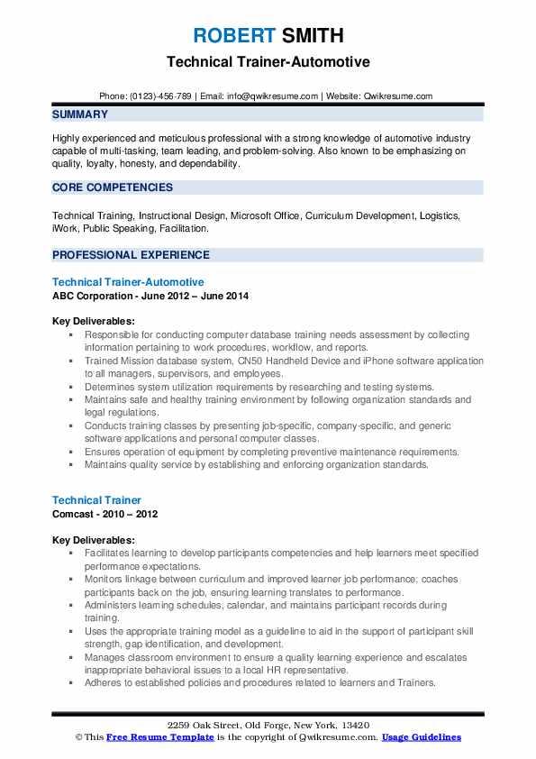 Technical Trainer-Automotive Resume Model