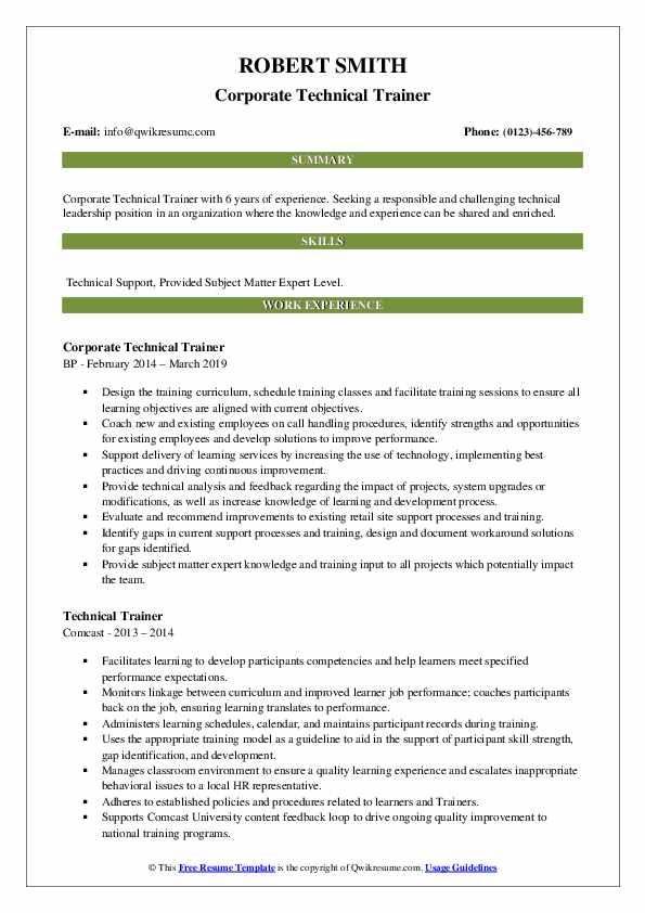 Corporate Technical Trainer Resume Model