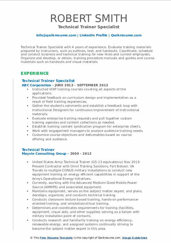 Technical Trainer Specialist Resume Sample