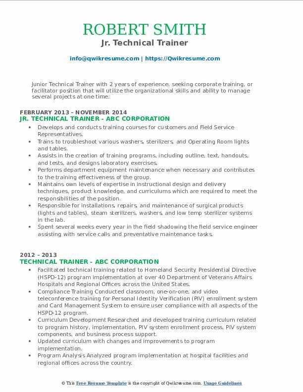 Jr. Technical Trainer Resume Format