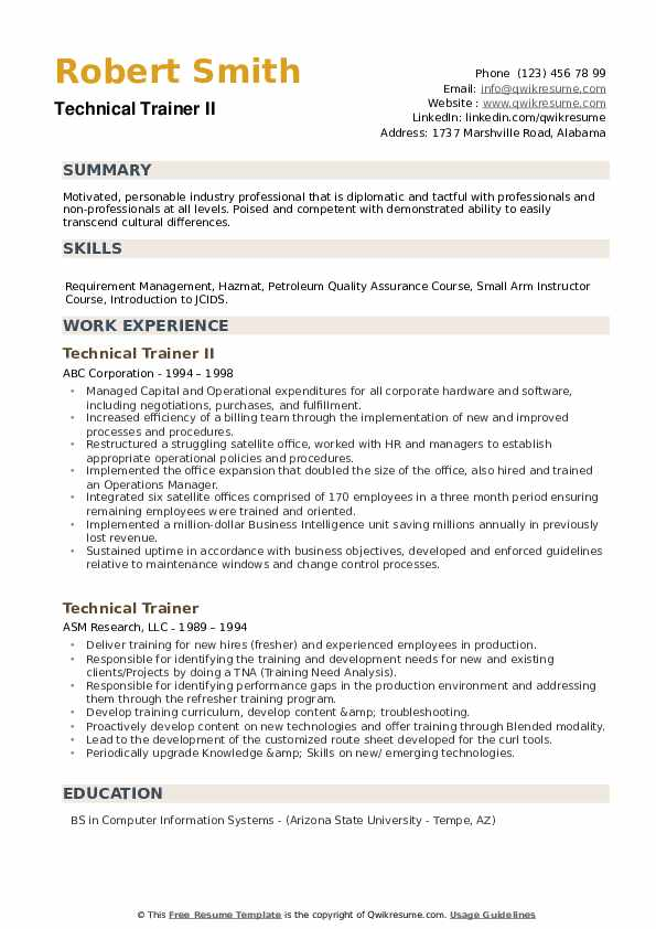 Technical Trainer II Resume Template