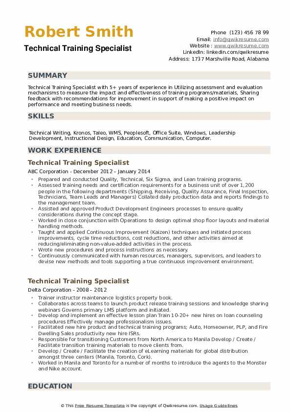 Technical Training Specialist Resume example