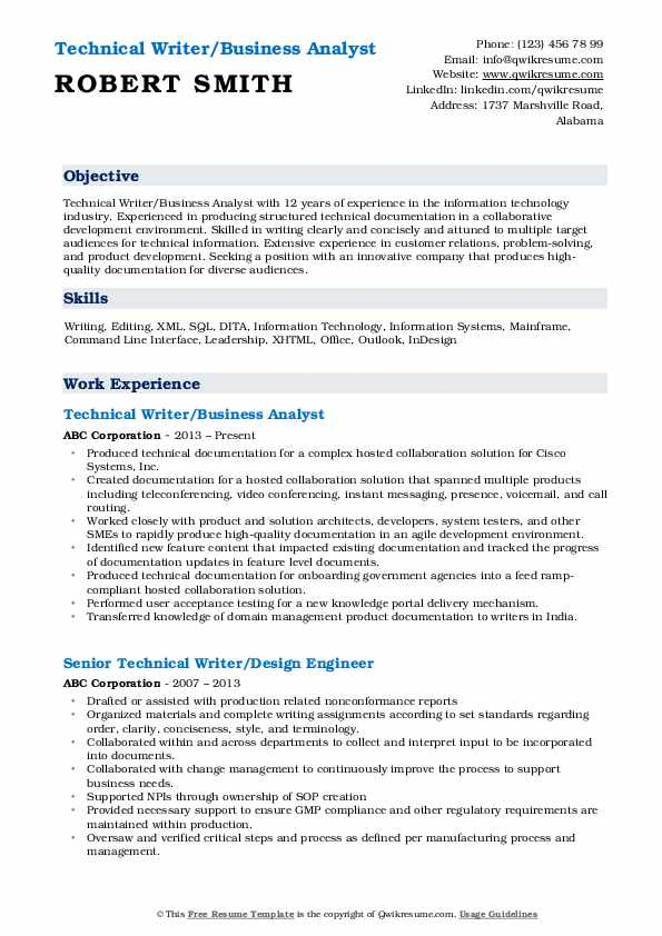 Technical Writer/Business Analyst Resume Example