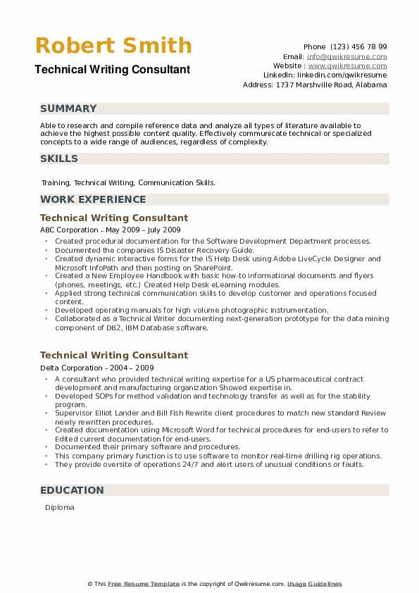 Technical Writing Consultant Resume example