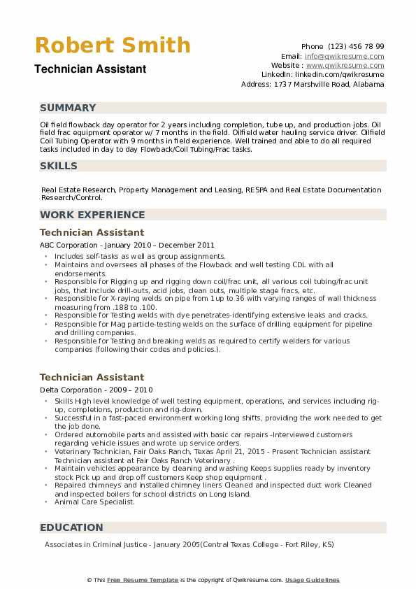 Technician Assistant Resume example