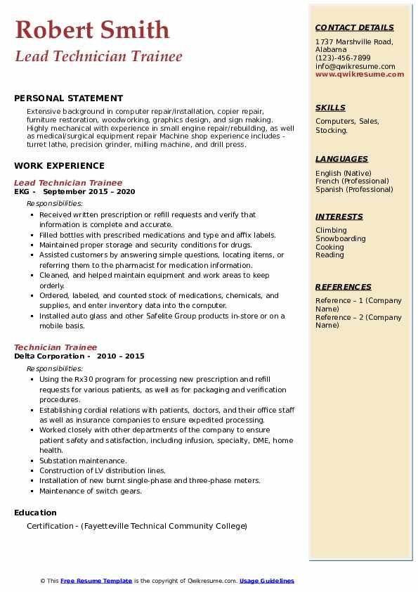 technician trainee resume samples  qwikresume