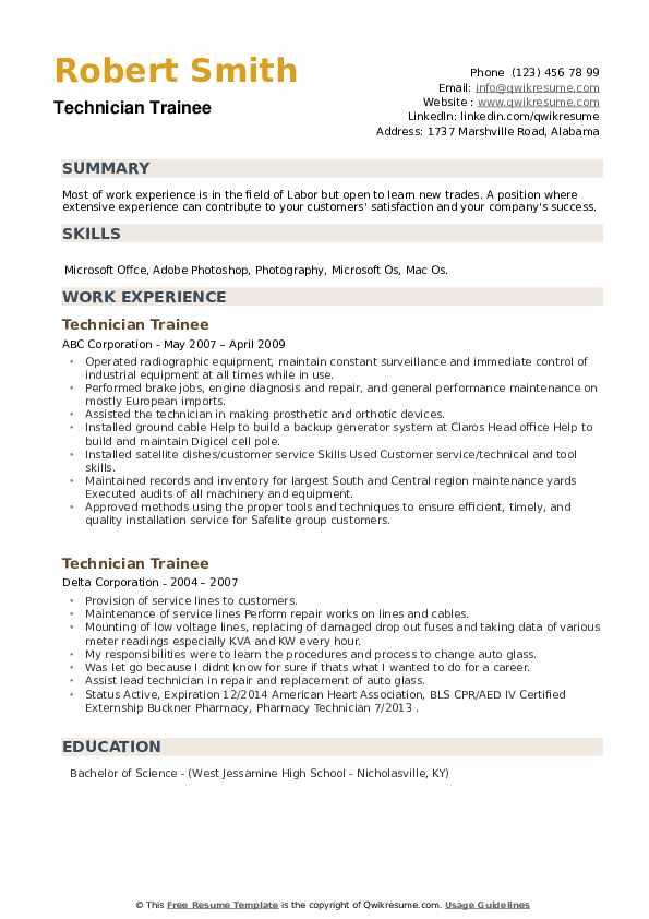 Technician Trainee Resume example