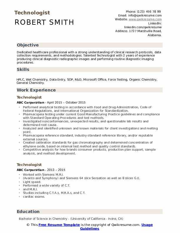 Technologist Resume Model