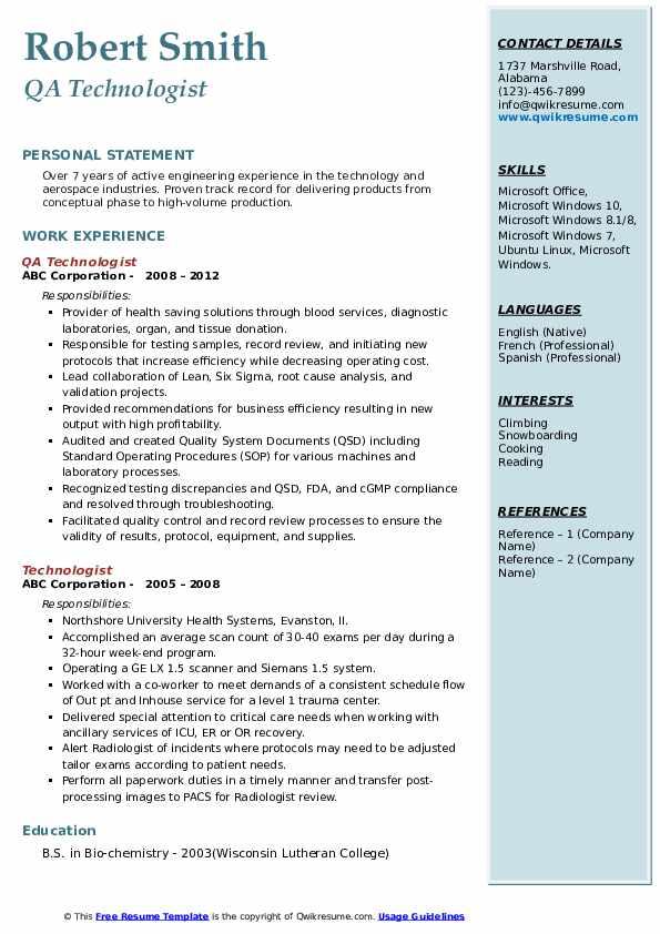QA Technologist Resume Format
