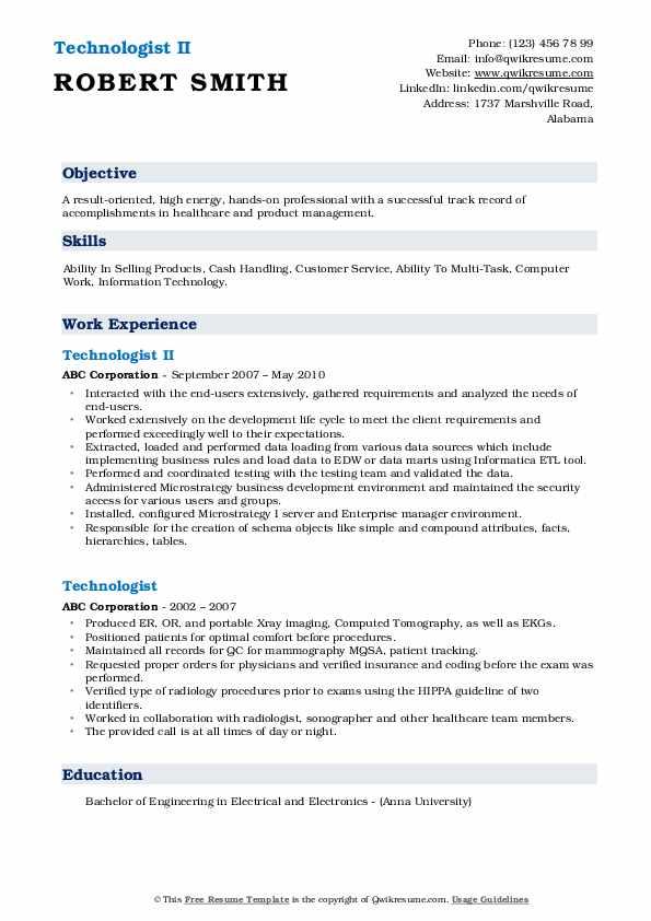 Technologist II Resume Model