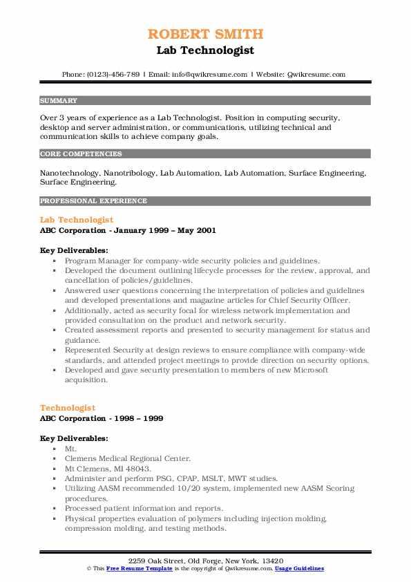 Lab Technologist Resume Model