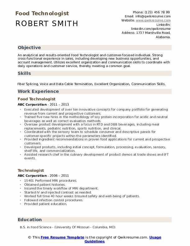 Food Technologist Resume Format