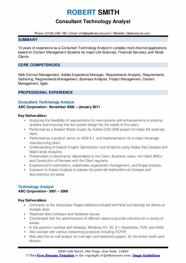 Consultant Technology Analyst Resume Sample