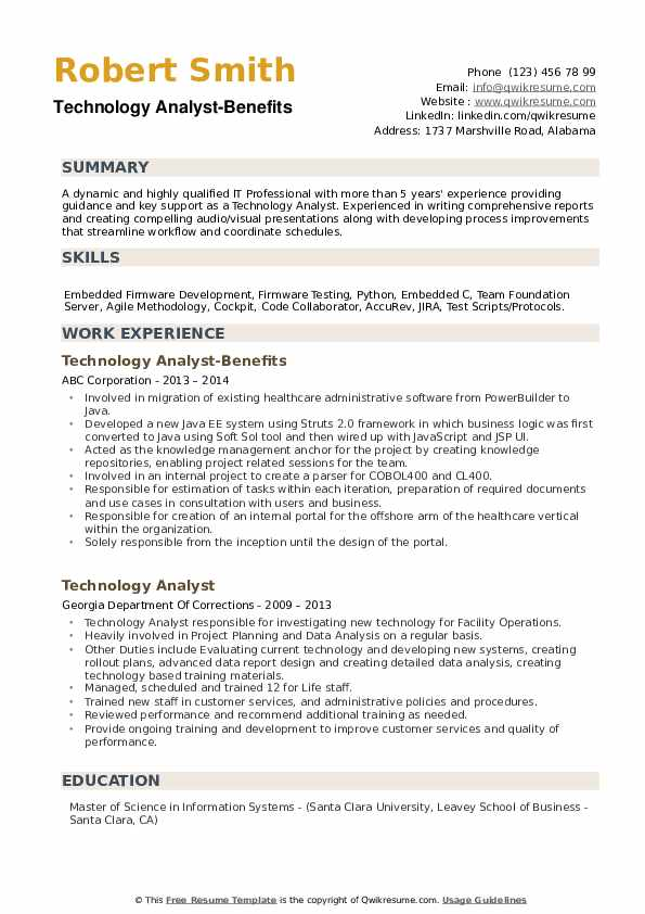 Technology Analyst-Benefits Resume Template