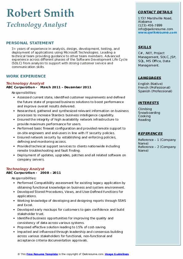 Technology Analyst Resume example