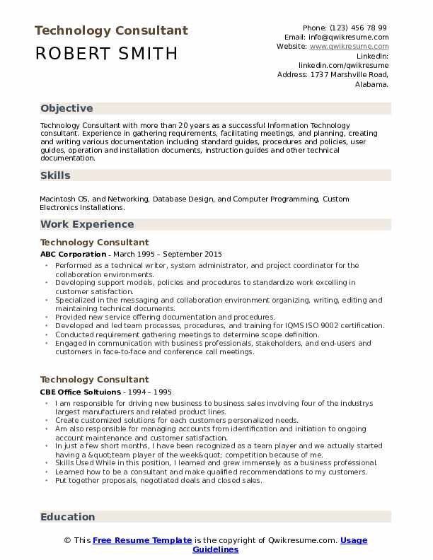 Technology Consultant Resume Sample