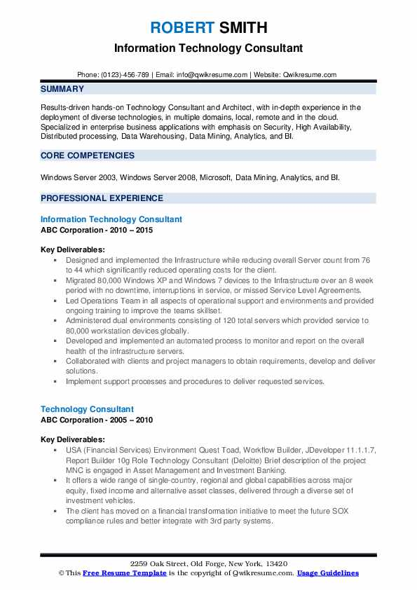 Information Technology Consultant Resume Template