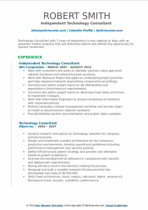 Independent Technology Consultant  Resume Example