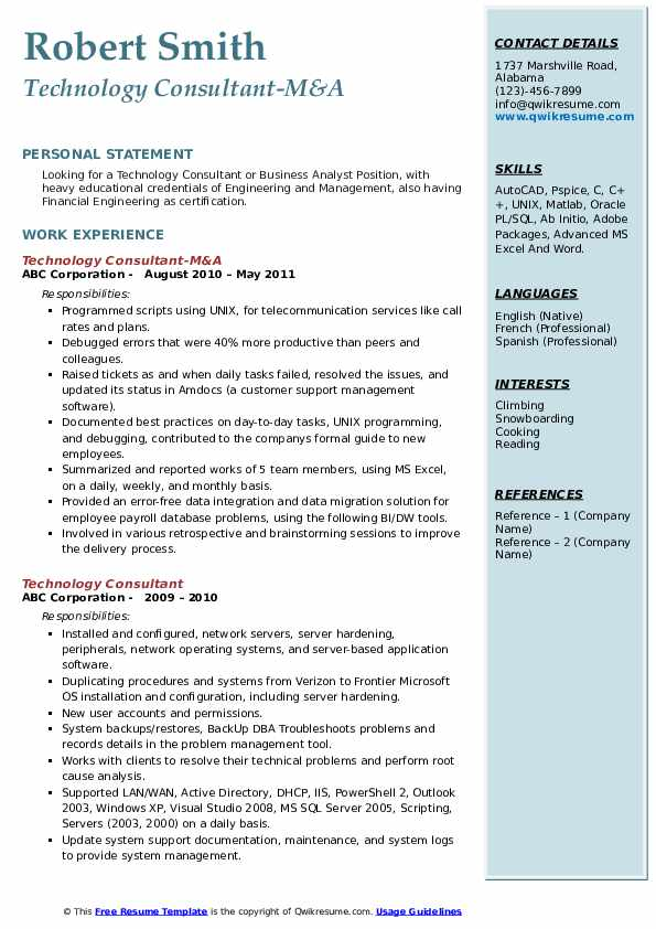 Technology Consultant-M&A Resume Example