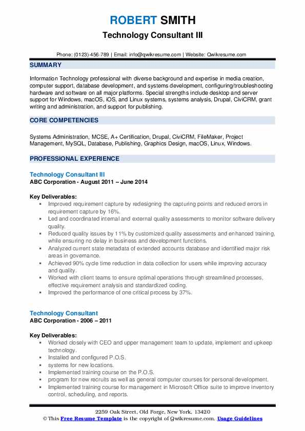 Technology Consultant III Resume Example