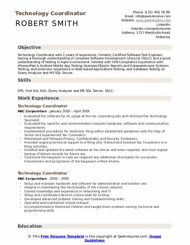 Technology Coordinator Resume Example