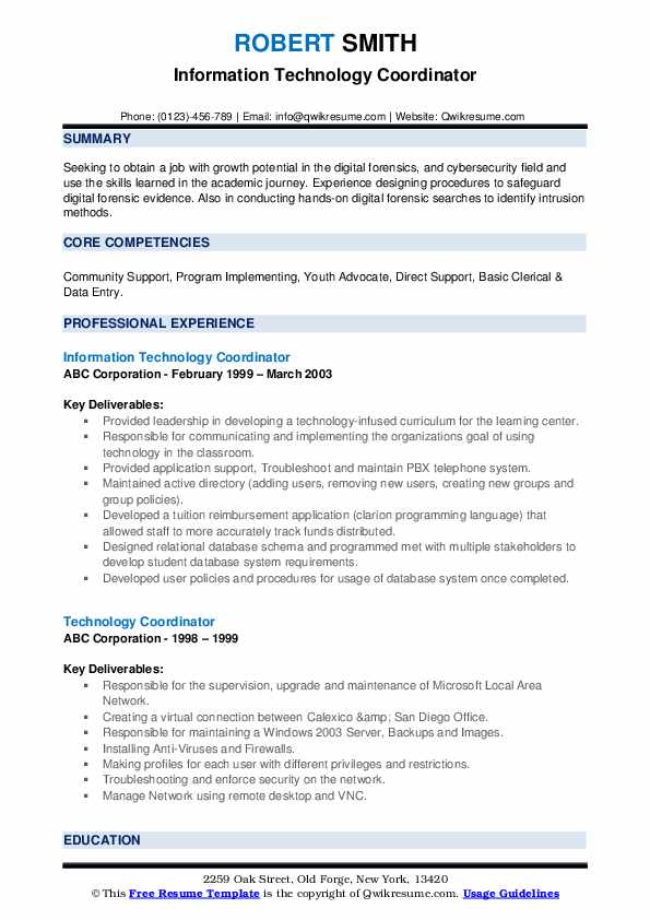 Information Technology Coordinator Resume Model