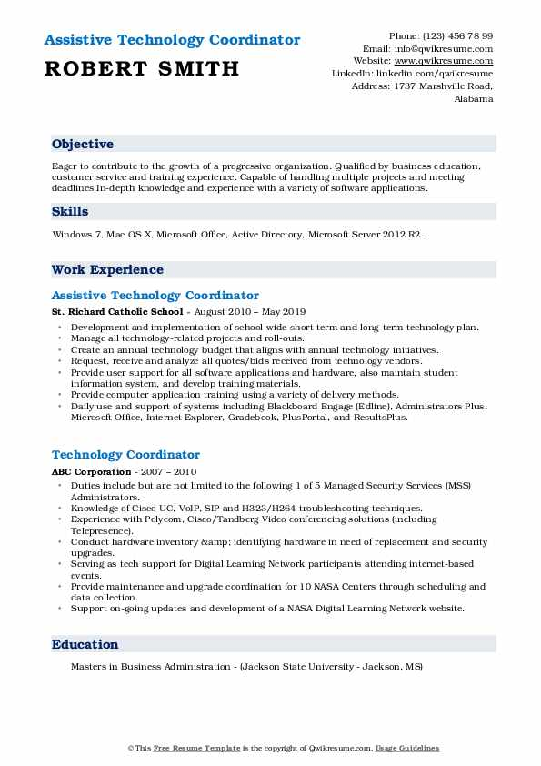 Assistive Technology Coordinator Resume Model