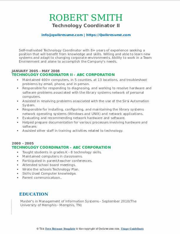 Technology Coordinator II Resume Format
