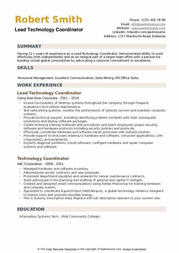Lead Technology Coordinator Resume Sample