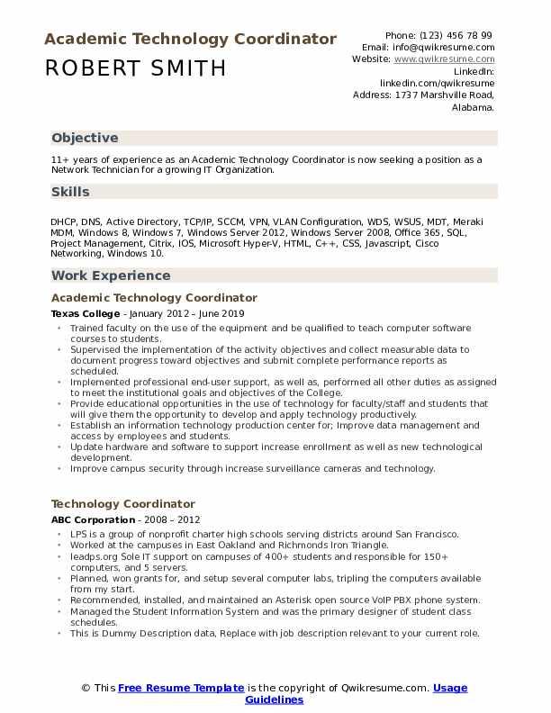 technology coordinator resume samples  qwikresume
