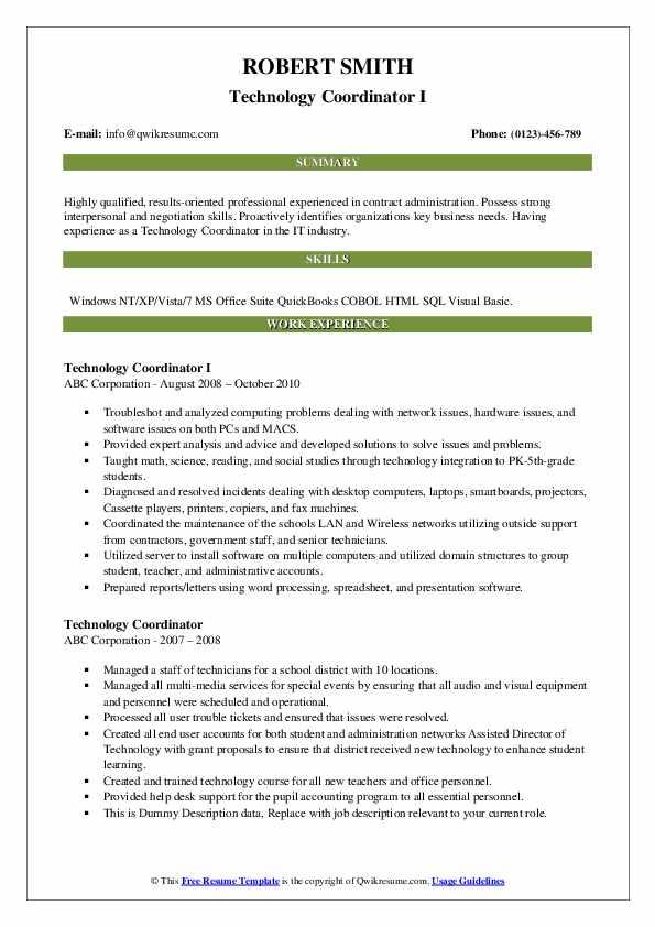 Technology Coordinator I Resume Model