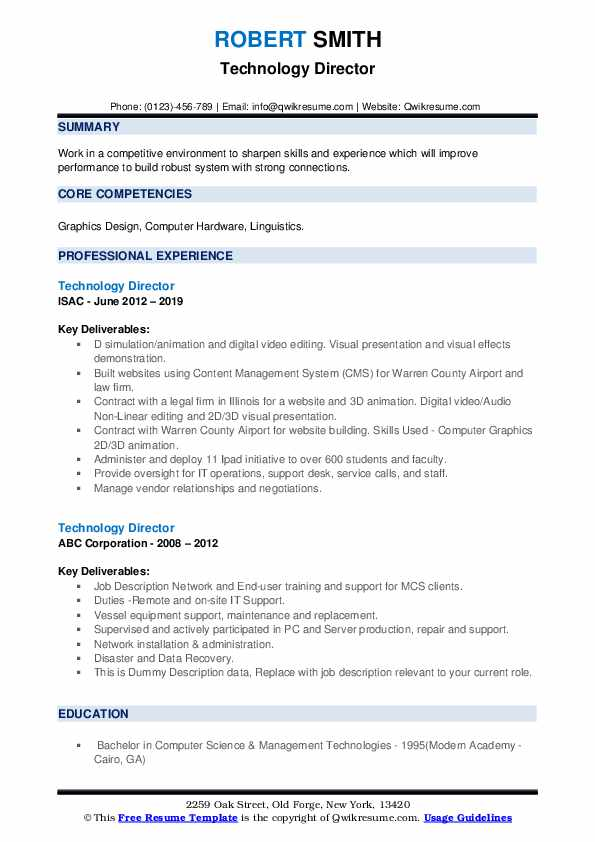 Technology Director Resume example