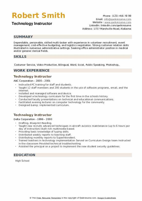 Technology Instructor Resume example