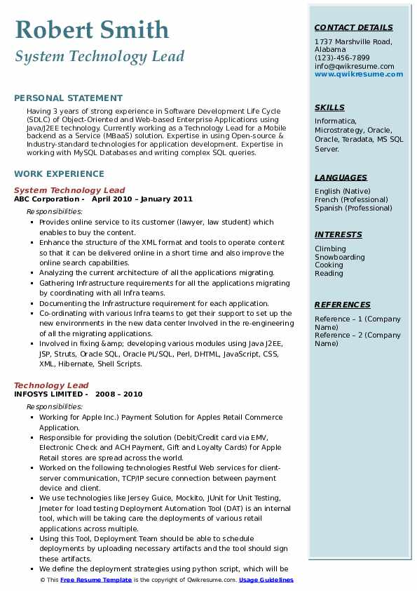 System Technology Lead Resume Example