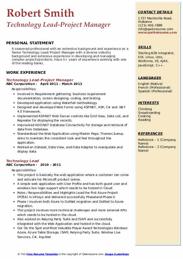 Technology Lead-Project Manager Resume Template