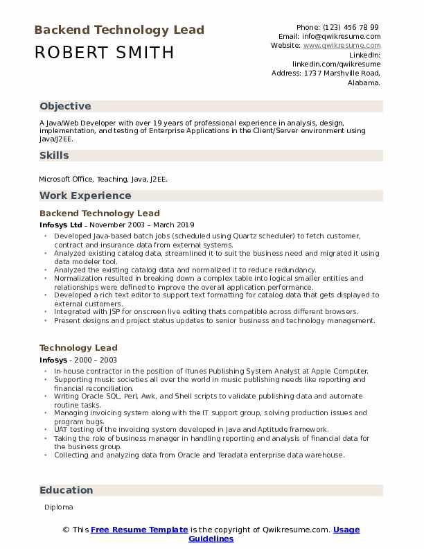 Backend Technology Lead Resume Format