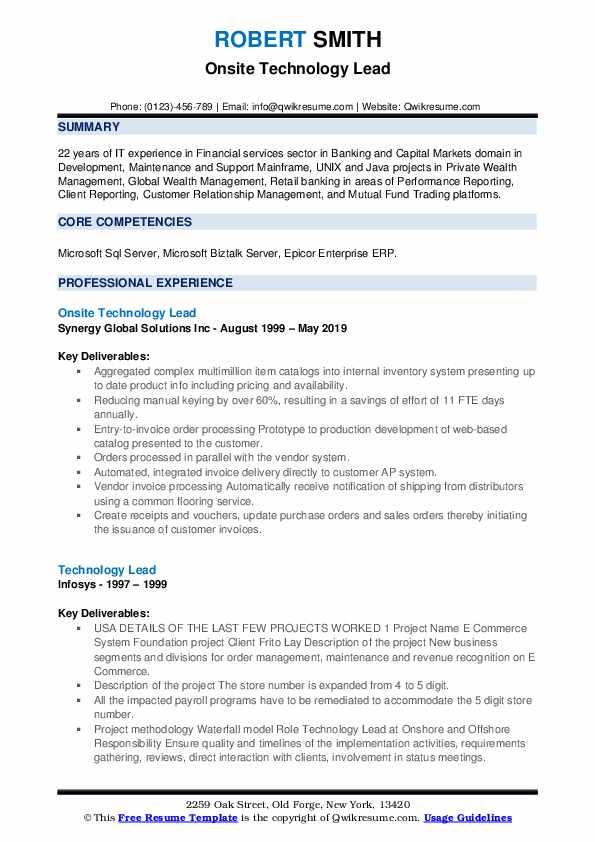 Onsite Technology Lead Resume Model