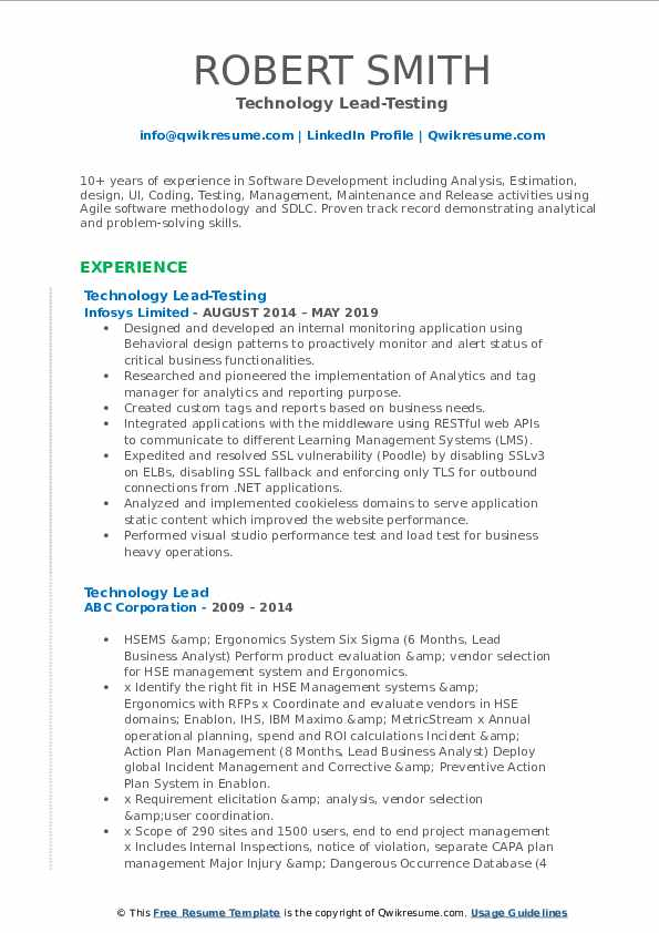 Technology Lead-Testing Resume Format
