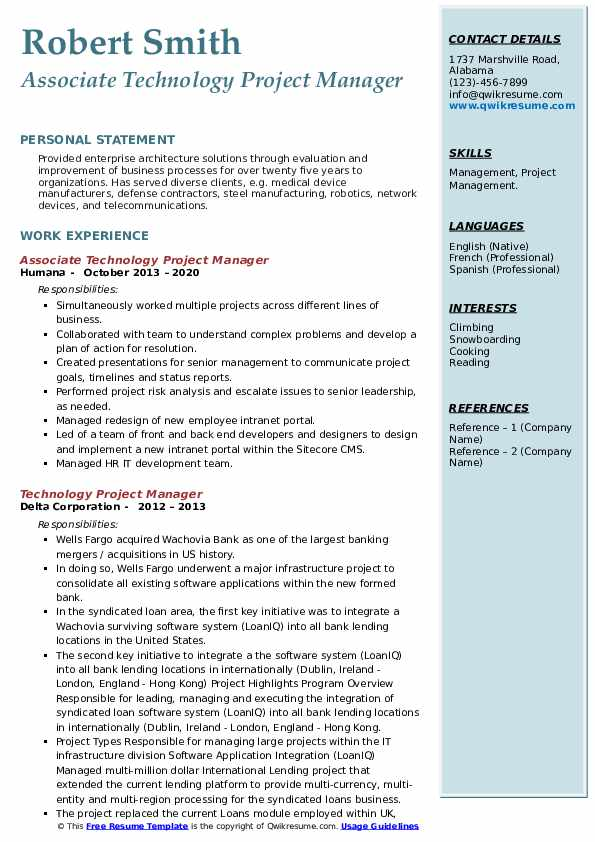 technology project manager resume samples  qwikresume